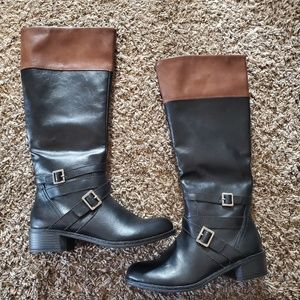 Black and brown fall boots